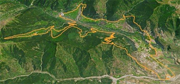 Vista aérea del recorrido