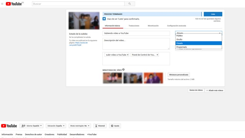 Subir un video a YouTube