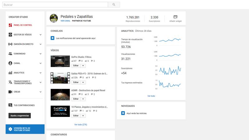 Panel de control de YouTube